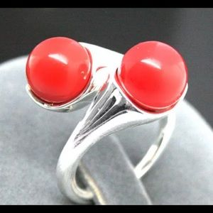Jewelry - Sterling Silver Ring with natural coral.